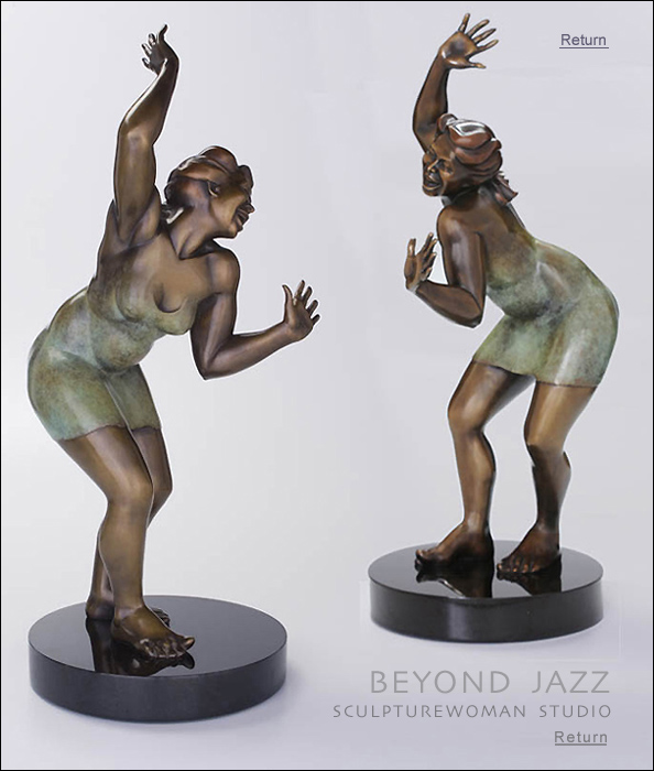 Lively scintillating bronze sculpture. Fascinating nudes. Sculptures of women. For collectors, galleries, as gifts. Bronze nudes, nude female figure, female form in bronze, entitled Beyond Jazz, bronze or resin