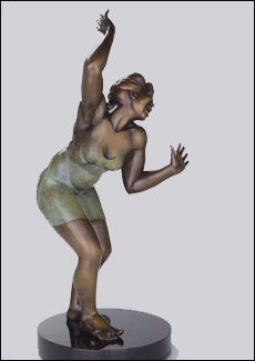 Beyond Jazz - Bronze Sculpture of Woman, Nude by Eleanor Seeley