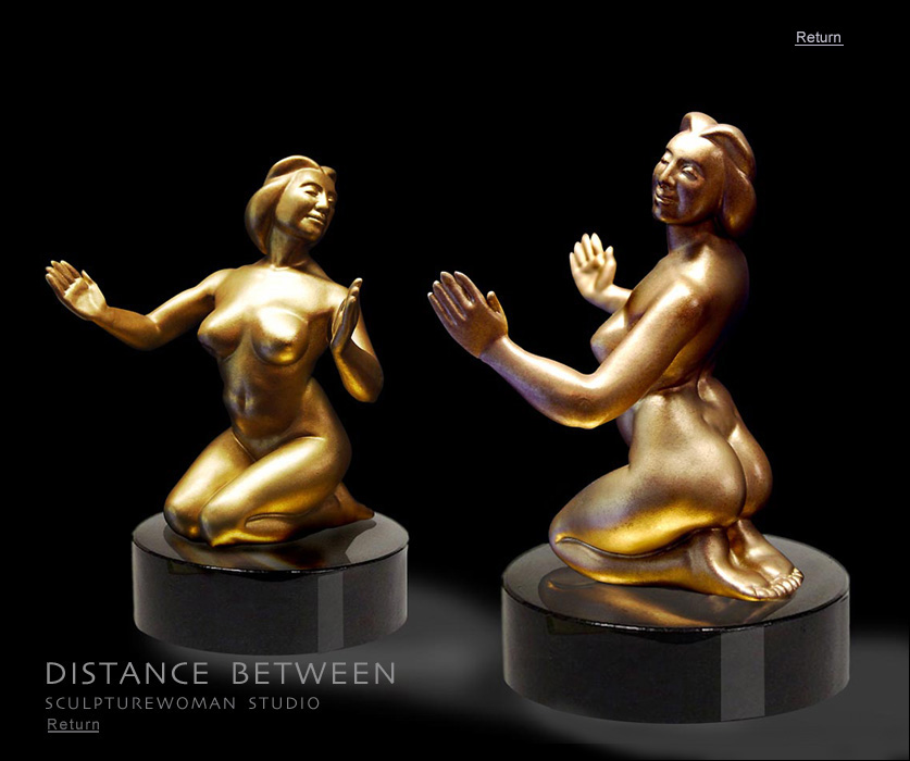 Earthy, voluptuous, enlivening bronze sculpture of the female form for collectors, galleries, and as gifts in many sizes. Full figured women sculpture. Art collectors, buy sculptures of women, bronze nudes, nude female figure, female form in bronze entitle Distance Between, bronze or resin, macquette