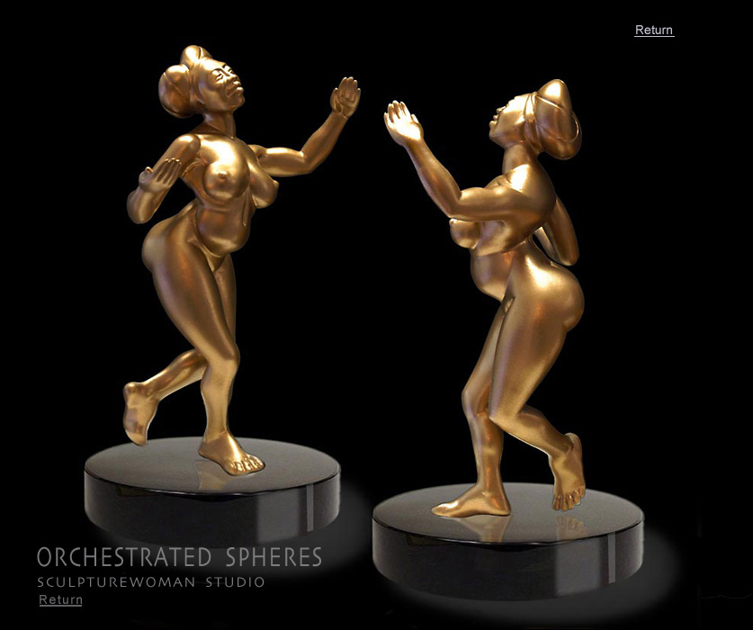 Buy exotic fully realized sculptures of full-figured women, bronze nudes, nude females, female form in bronze, Orchestrated Spheres, bronze or resin stauettes, statues and macquettes